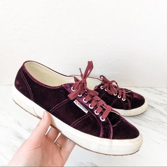 Anthropologie Bordeaux Velvet Sneakers